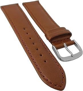 Minott Correa de repuesto para reloj de pulsera, 16 mm y 18 mm, piel de becerro suave, color marrón, con costuras en extra...