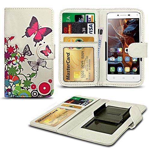N4U Online® Verschiedene Muster Clip Serie Kunstleder Brieftasche Hülle für Oukitel U7 Pro - Schmetterling