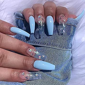 BABALAL Coffin Fake Nails 24Pcs Butterfly Ballerina False Nails Blue Press on Nails Long Acrylic Nail Tips with Design for Women and Girls