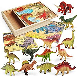 3 in 1 Dinosaur Puzzles in a Wooden Storage Box & 12 Pcs Realistic Dinosaur Figures