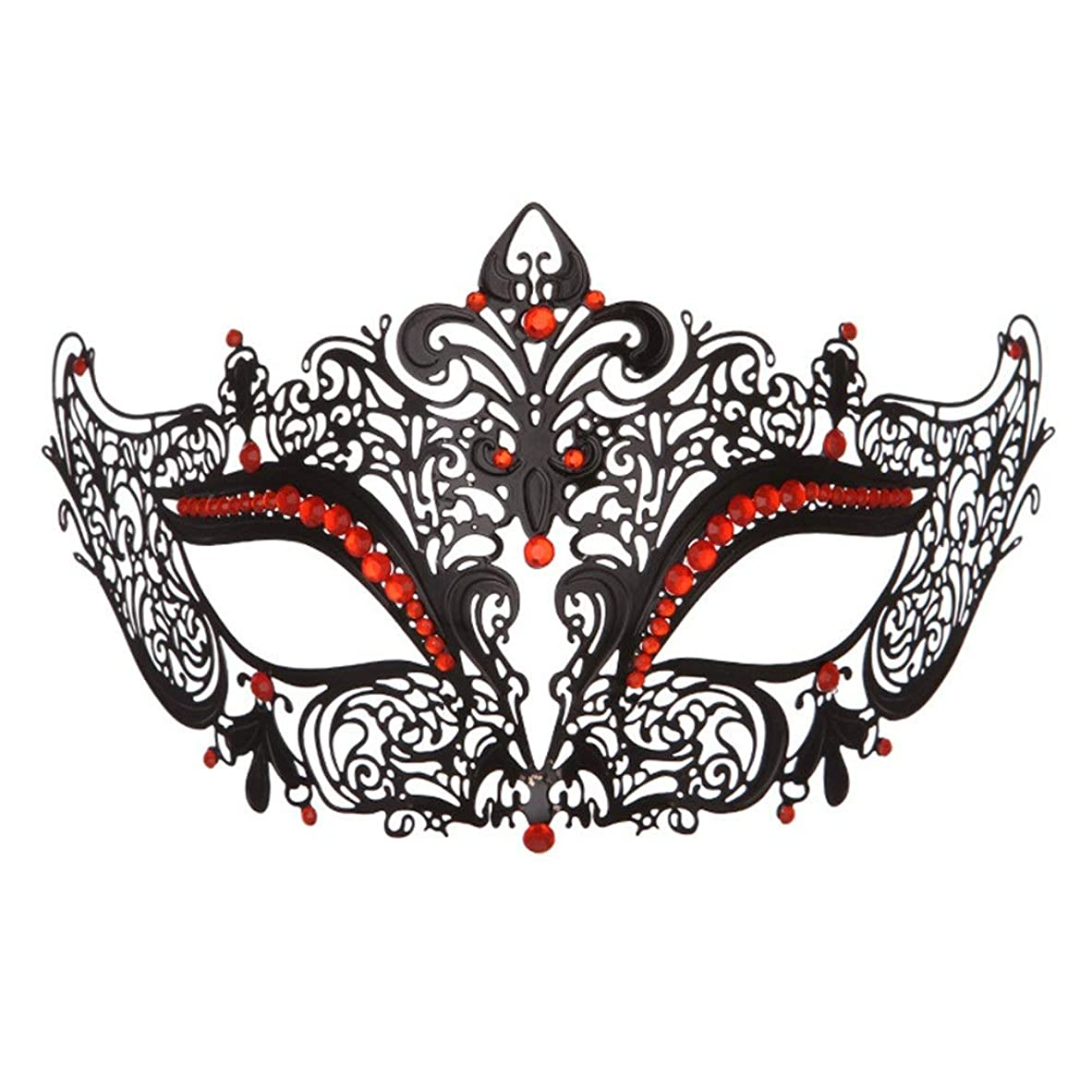 デマンドナプキン合体ダンスマスク 高級金属鉄マスク女性美少女中空ハーフフェイスファッションナイトクラブパーティー仮面舞踏会マスク ホリデーパーティー用品 (色 : 赤, サイズ : 19x8cm)