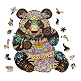 Wooden Puzzle Jigsaw for Adults and Kids, Unique Shape Animal Jigsaw Pieces Best Gift for Family (Panda,Medium)