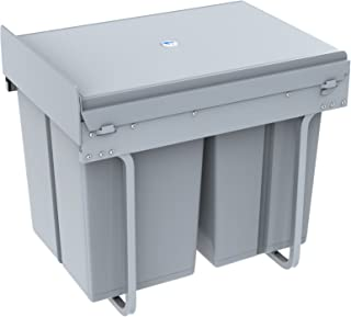1home Poubelle Recyclable Compatiment à Tirer Pour Cuisine 40L, Gris U2026