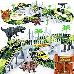 4. KKONES Dinosaur World Flexible Race Track Playset (273pcs)