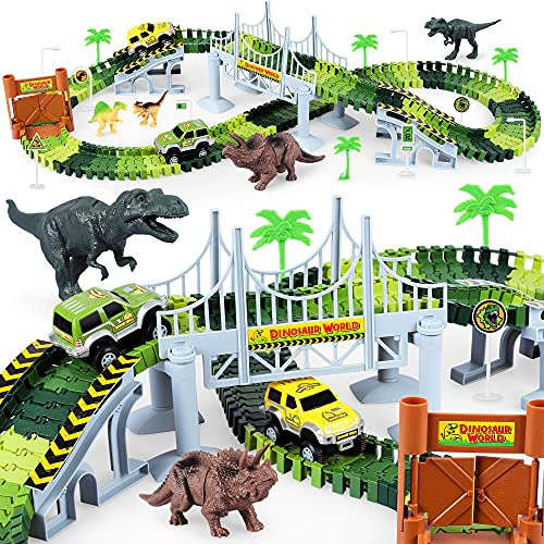 Dinosaur Toys-170 pcs Create A Dinosaur World Road Race-Flexible Track Playset ,4 Dinosaurs and 2 Race Car Toys for 3 4 5 6 Year & Up Old boy Girls Best Gift (Green)