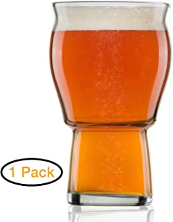 Nucleated Beer Glass - Beer Glasses for Ipa for Beer Drinkers for Better Head Retention, Aroma and Flavor - 16 oz Craft Beer Glasses for Beer Drinking Bliss - Ultimate Pint Glass for Men