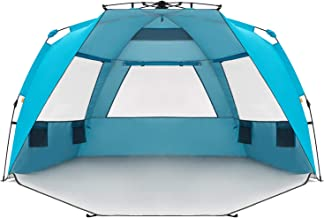 Easthills Outdoors Instant Shader Enhanced Deluxe XL Easy Up 4 Person Beach Tent Sun Shelter UPF 50+ Double Silver Coating with Extended Zippered Porch