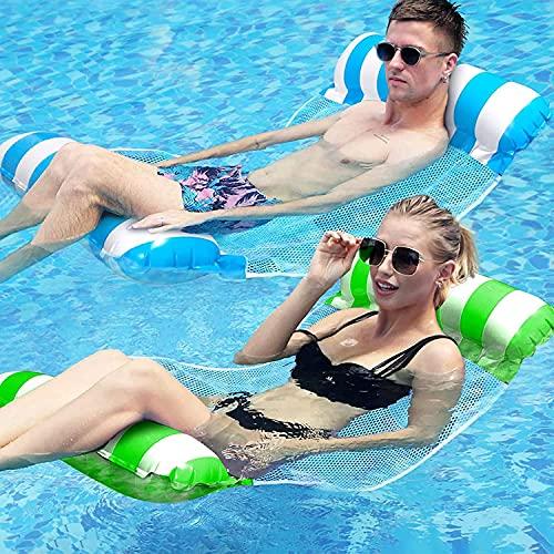 AYCLIF Hamaca inflable para Piscina, Paquete de 2 Hamacas de Agua con Bomba de Aire, Hamaca Flotante, Cama Flotante de Agua Plegado Inflable Hamaca de Agua flotadores piscina, 26.8' X 50.4'