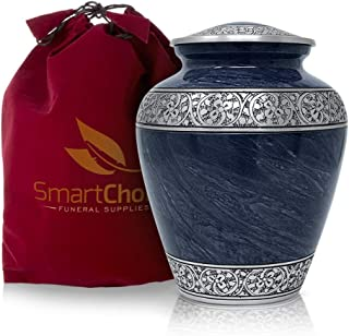 SmartChoice Urns for Human Ashes Adult - Memorial Funeral Urn Vase with Secure Lid - Royal Blue Handcrafted Cremation Urn