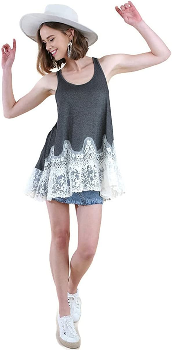 Umgee New product Women's Floral Lace Tank Kansas City Mall Top Tunic Extender