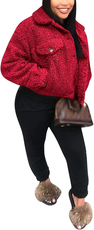 Aro Lora Womens Winter Warm Long Sleeve Lapel Fuzzy Fleece Faux Fur Coat Short Jacket Outwear