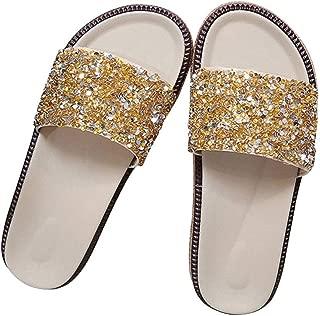 GJBGXM BoutiqueZapatillas para Mujer Ropa de Verano Sandalias de pedrería remolcada Zapatos de Playa con Fondo Plano
