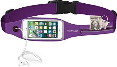 Rhino Valley Running Belt Waist Pack, Sports Fanny Pack Fitness Workout Belt, Water Resistant Dual Pockets with Clear Touch Screen Compatible with iPhone 11/11 Pro Max/X/8, Galaxy Note 10/10 Plus/S10