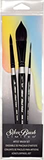 Silver Brush WC-3000S Black Velvet Watercolor Short Handle Brush Set, 3 Per Pack