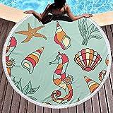 Serviettes de Plage Rondes couvertures avec Glands Coquille de mer Cheval Mandala Tapis de Yoga...