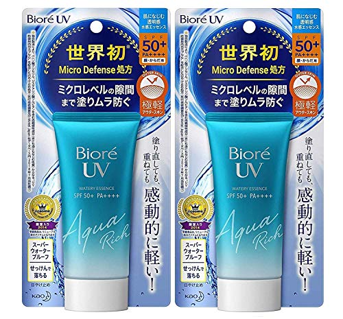 Biore Sarasara UV Aqua Rich Watery Essence Sunscreen SPF50+ PA+++ 50g (Pack of 2)