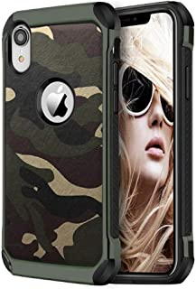 FDTCYDS iPhone xr case Armor Shockproof Hybrid Rugged Camouflage Case for Apple iPhone xr - Camo Green (6.1-inch)
