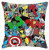KINGAM Fundas de almohada Marvel Avengers Funda de cojín para sofá cama, silla, decoración del hogar (45 x 45 cm)