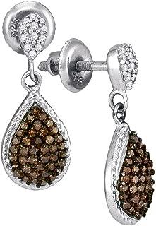 10k White Gold Round Chocolate Brown Diamond Teardrop Dangle Earrings (1/2 Cttw)