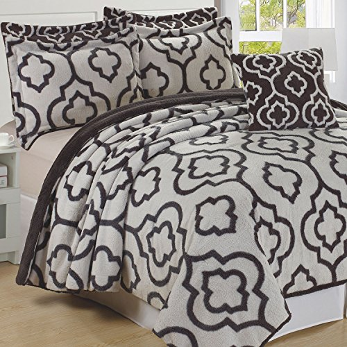 """Home Soft Things Jacquard Bedspread & Coverlet Set, 102"""" x 90"""", Gray"""