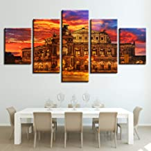 Canvas HD Prints Pictures Living Room Wall Art 5 Pieces Architecture Painting Sunset Poster Modular Home Decorwork-40x60x2 40x80x2 40x100cm