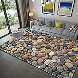 Shaggy Teppich fürs Wohnzimmer 3D Steinmuster Teppichbodenmatte Pflegeleicht 8 Stück Anti Rutsch Teppichunterlage für Wohnzimmer flauschig Bettvorleger Schlafzimmer Outdoor, 110x120cm