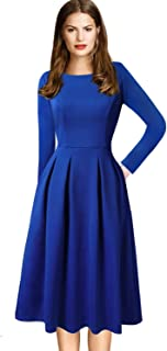 Womens Vintage Pleated Pockets Work Business Casual Skater A-Line Dress