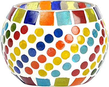 Lalhaveli Decorative Entrance Glass Candle Holder 3 Inch Multi Color
