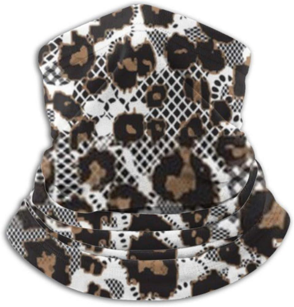 Fleece Neck Warmer ,multifunctional Leopard Fur Lace Background Seamless Vector Scarf,a Full Face Mask Or Hat, Neck Gaiter, Neck Cap ,ski Mask, Half