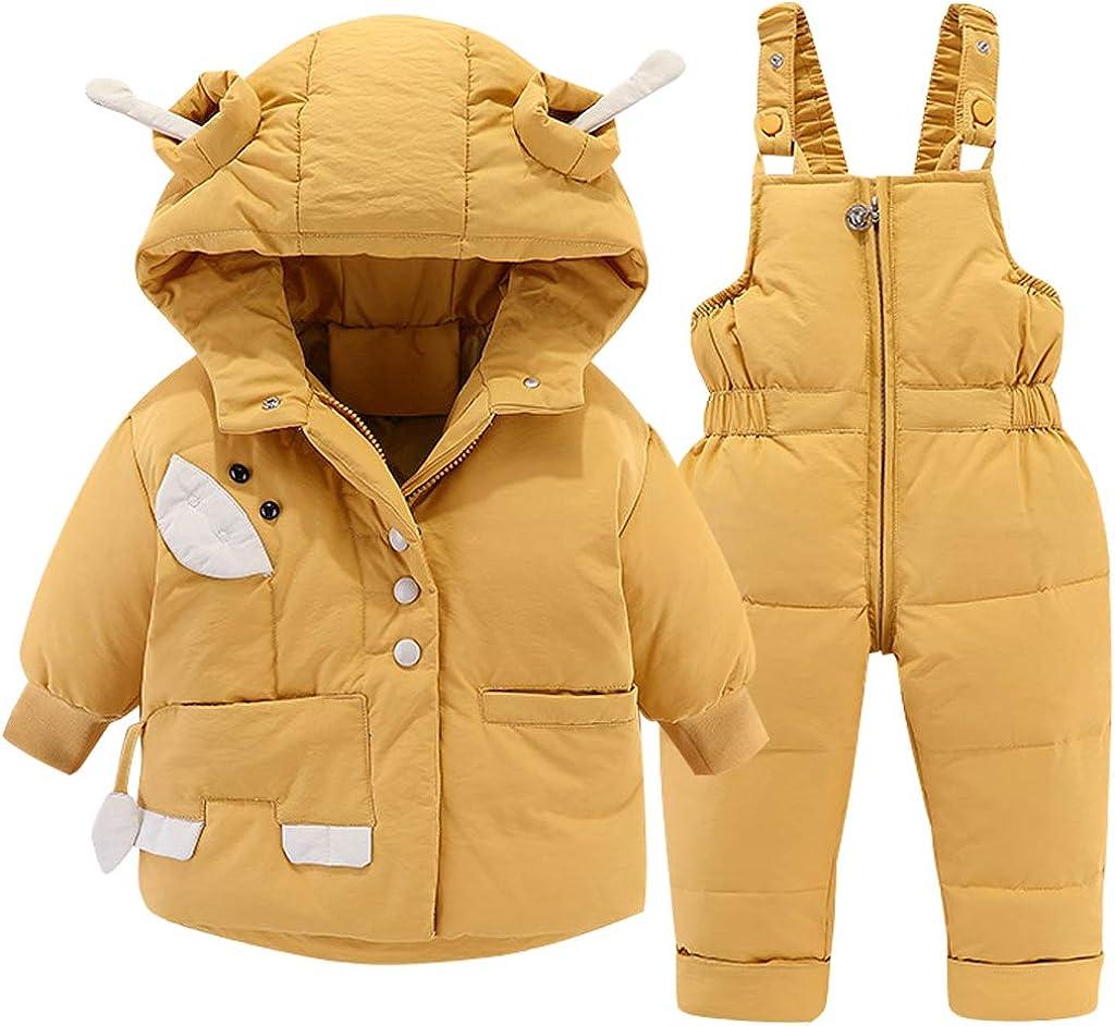 Winter Baby Snowsuit Jacket Hood Down Snow Jacket + Ski Bib Pants Down Coat 2 Piece Boys Girls Clothing Outfit Set