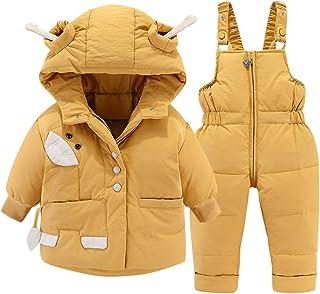 Trajes de Nieve Bebé Invierno Encapuchado Abajo Chaqueta de Nieve + Pantalones de Esquí Abrigo de Plumas 2 Piezas NiñOs Ni...