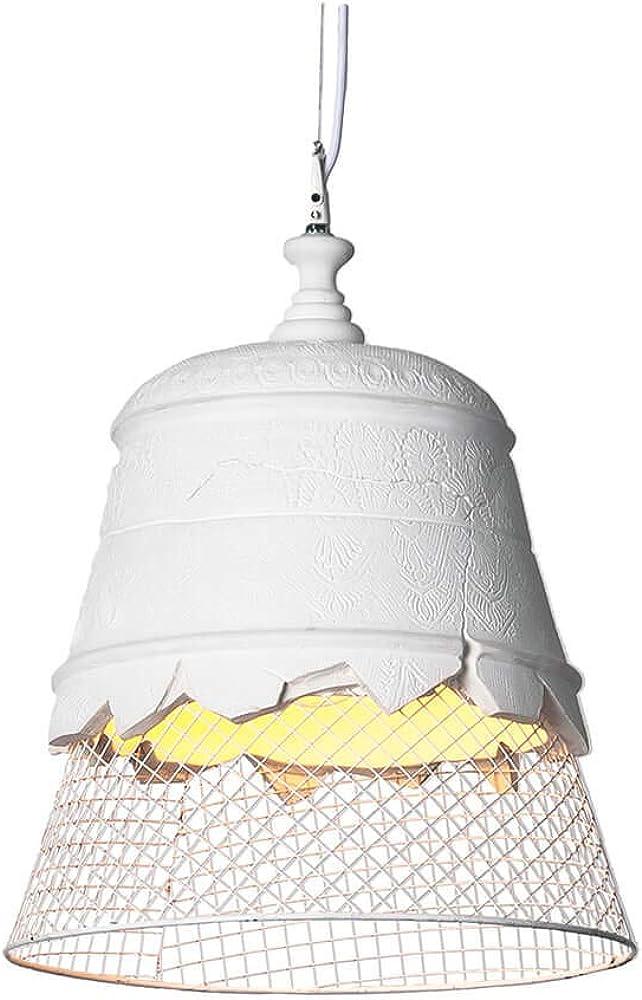 Karman domenica, lampada a sospensione Ø35 cm, paralume in gesso bianco e rete metallica color bianco SE1021B INT