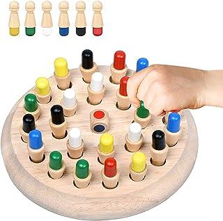 YUFF! Juego de Memoria en Forma de ajedrez de Madera con peones de Colores, Juego de Mesa Que desarrolla el Pensamiento ló...