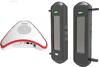 HTZSAFE Solar Wireless Driveway Alarm System- 1/2 Mile Long Transmission Range- 300 Feet Wide Sensor Range- No Wiring No N...