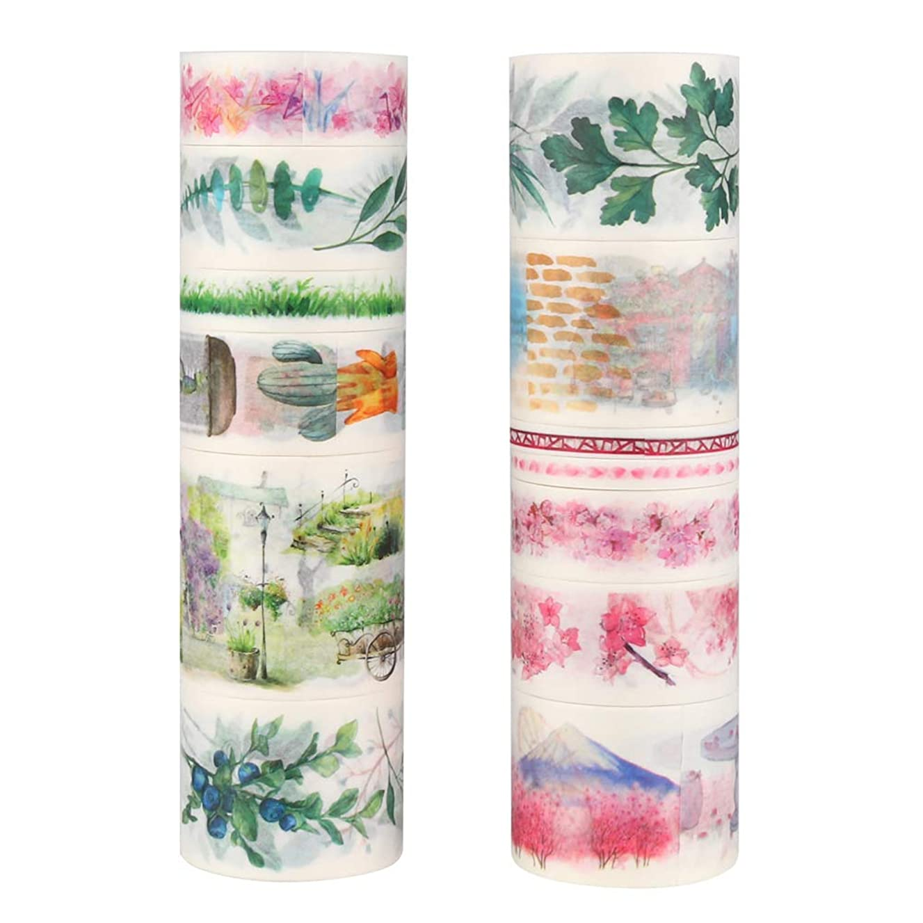 Molshine 13rolls(6.6ft/Roll) Washi Masking Tape Set,Adhesive Paper,Crafts Tape for DIY,Planners,Scrapbook,Object Beautification Decorative,Collection,Gift Wrapping-Cherry Blossom Green Plant Series