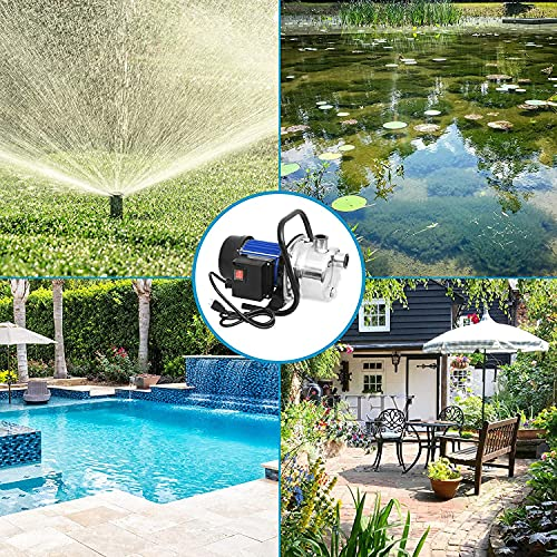 Lawn Sprinkling Pump 1.6HP, Stainless Steel Electric Water Pump Garden Shallow Well Pump Lawn Sprinkling Booster Pump Water Transfer for Garden Water Transport Irrigation