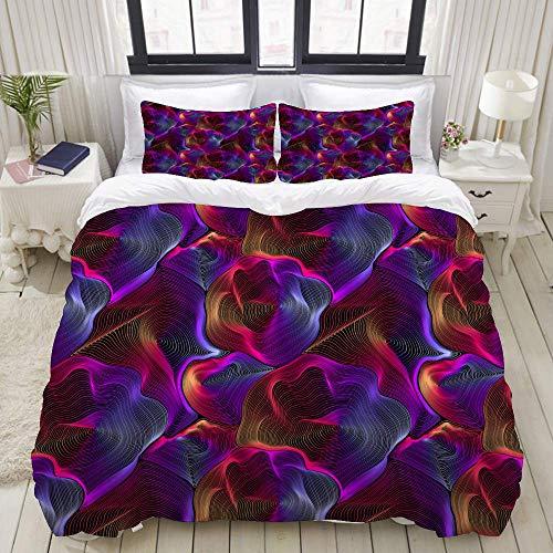 SmallNizi Juego de Funda nórdica, Colorido gradiente Ilusión óptica de Arco Iris sin Costuras, Colorido Juego de Cama Decorativo de 3 Piezas con 2 Fundas de Almohada