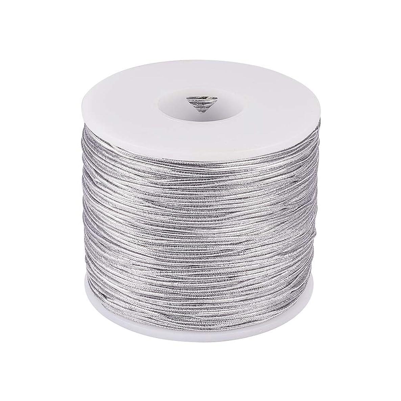 PH PandaHall 1mm 100m/ 109 Yards Metallic Tinsel Elastic Cord Polyester Ribbon Stretch Cord for Jewelry Making Gift Wrap Ribbon, Silver