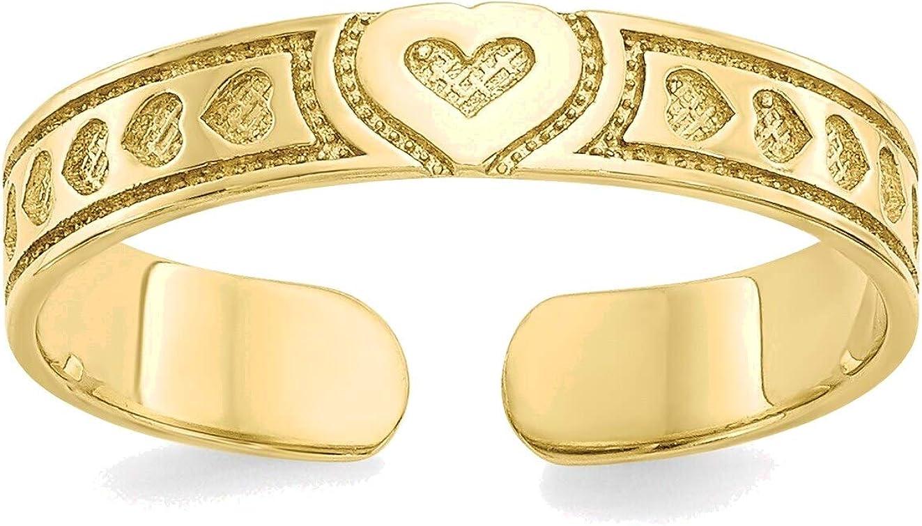 Bonyak Jewelry Heart Toe Ring in 10K Yellow Gold in Size 11
