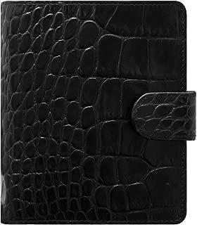 Filofax Classic Croc Print Leather Organizer Agenda Calendar with DiLoro Jot Pad Refill 026074 (Pocket Ebony 2020)