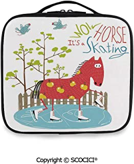 SCOCICI Printed Portable Storage Bag Wow Its Skating Horse on Ice Amusing Colorful Fun Cartoon for Kids Tree Birds with Adjustable Compartments and Brush Slots