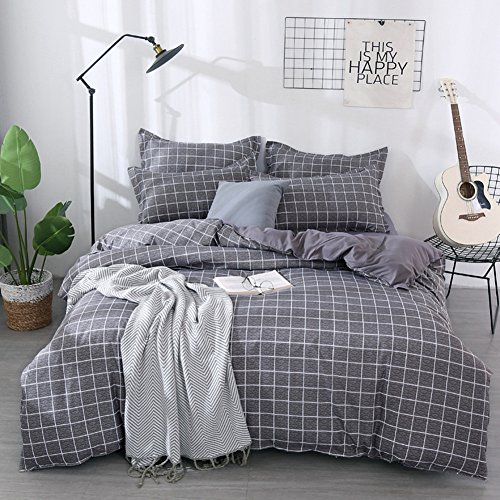 Morbuy Duvet Cover Bedding Set Non Iron Trendy Tartan Check Plaid Design, 2 x Housewife Pillowcases 1 x Quilt Case for Single Double King Size Bed, Machine Washable (Single-135x200CM, Gray)