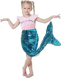 DrCosy Mermaid Tail Blanket for Girls Flip Sequin Gliter Mermaid Fishtail Blankets Living Room Bedroom Sofa Sleeping Bags (37