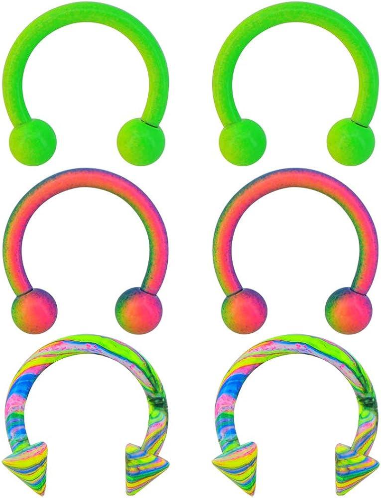 OUFER 6PCS 16G Stainless Steel Horseshoe Circular Barbells Rainbow Green Paint Horseshoe Rings Daith Earring Helix Tragus Eyebrow Piercing Jewelry