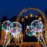ZMYGOLON 4 PCS Luftballons, 45,7 cm/ 3 m (18 Zoll/9,84 Fuß), LED-Ballons, mit Halterungsstäben, für Geburtstage, Hochzeiten, Feste, Dekoration, Mehrfarbig