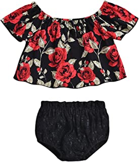 4b77945344900 Newborn Baby Girls Floral Off-Shoulder Shirt Tops + Casual Black Shorts Outfits  Set