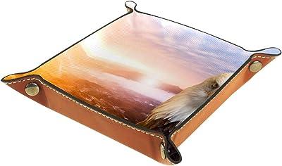 レザーバレットトレイ多目的 収納ボックストレイオーガナイザー小さなアクセサリーの収納に使用,鷹