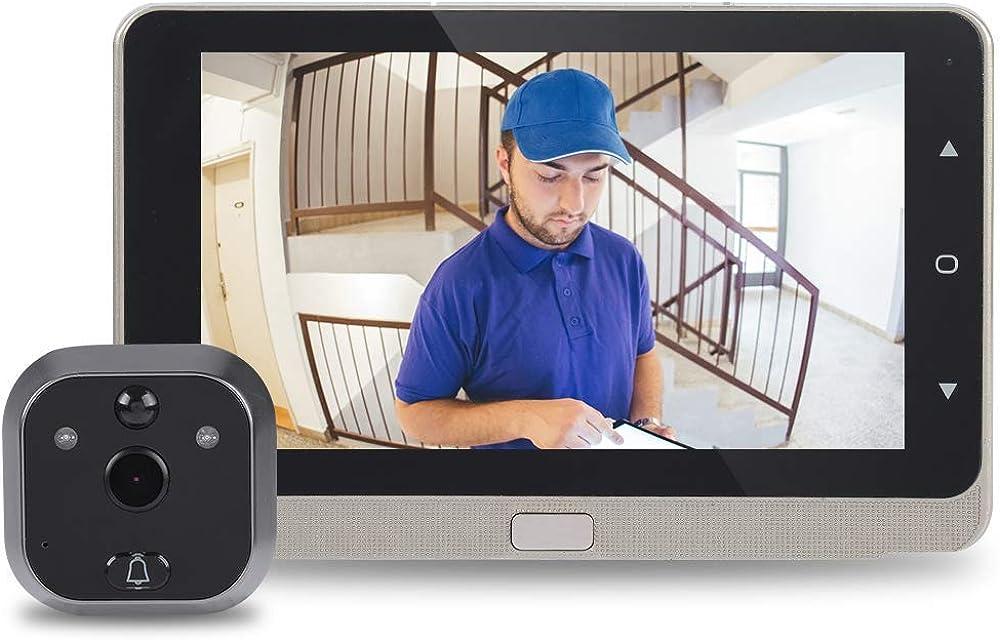 Bewinner - Visor Digital para Puerta (Pantalla OLED de 720p visión Nocturna detección de Movimiento grabación de vídeo cámara de Seguridad de 160° Gran Angular)