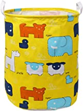 "LINENLUX Clothes and Toys Organizer Waterproof Hamper Foldable Laundry Basket for Storage (Yellow & Animal, 15.7"" x 19.7"")"
