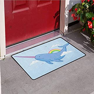 RelaxBear Narwhal Welcome Door mat Abstract Fantastical Whale with Horn Flying in The Sky Among Clouds and Rainbow Door mat is odorless and Durable W31.5 x L47.2 Inch Multicolor